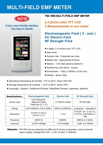 TM-190MULTI-FIELD EMF METER