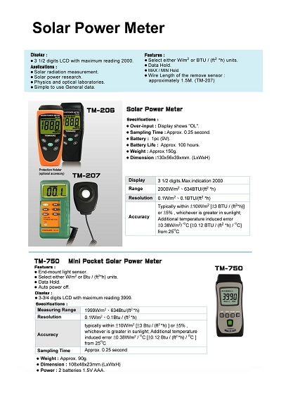 TM-206-207-750Solar Power Meter