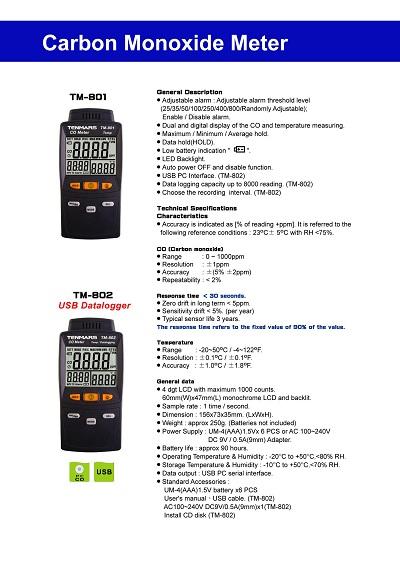 TM-801-802Carbon Monoxide Meter